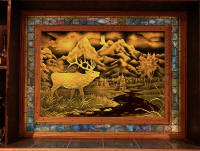 Custom hand carved glass wildlife scene by Randy Mardrus - in a bar by Eric Saperstein of Artisans of the Valley