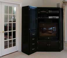 Custom Maple Entertainment Center in Black