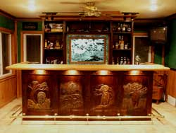 Custom solid solid walnut wildlife bar hand carved by Artisans of the Valley