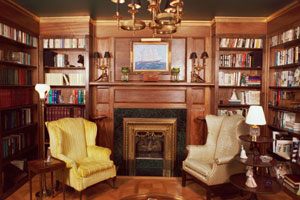 Custom Solid Mahogany Hand Carved Library - Fireplace Wall
