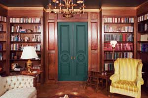 Solid Mahogany English Library by Artisans of the Valley Pocket Doors Closed View