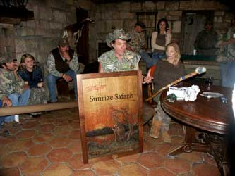 "Presentation of a Whitetail Deer Relief Carving entitled ""Whitetail Sunrize"" by Eric M. Saperstein and a custom personalized walking sticked (Staff) by Stanley Saperstein of Artisans of the Valley December 13, 2006 to Ted & Shemane Nugent at the YO Ranch in Mountain Home, TX"