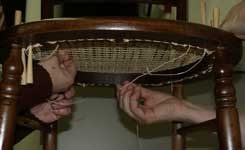 Sandra Holland & Theresa Tonte - Caning Class in Princeton, NJ working on a caned chair.