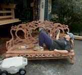 Theresa Tonte - Artisans of the Valley - Radio Cabinet Restoration - Working on Bench