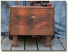 Solid Mahogany Gun Cart - Front View (Click for larger picture)