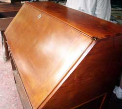 Circa 1820 Solid Cherry Secretary Before Restoration in state with previous poor choice of colored lacquer finish