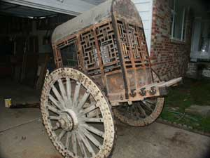 Painted Chinese Carrige - Back Angle View Before Restoration