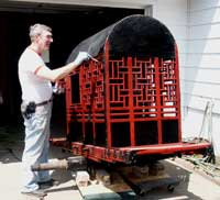 Painted Chinese Carrige - In Progress Stanley Painting Back Angle