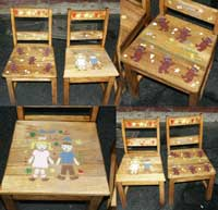Child's Golden Oak Chairs - Restored and Stenciled