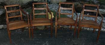 Artisans of the Valley Restoration - Four Teak Deck chairs Refinished