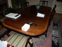 Duncan Phyfe - Mahogany pedestal table - Before Restoration