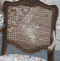 Four Victorian Chairs - Before Restoration Caning Back Closeup