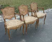 Four Victorian Chairs - In Progress Restoration Three w/o Top Layers