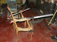 Four Victorian Chairs - In Progress Restoration In Clamps