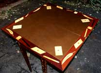 Marquetry Bridge Table Apron Restoration Complete - Leather Top 1