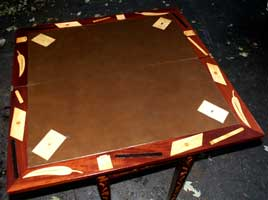 Marquetry Bridge Table Apron Restoration Complete - Leather Top 2