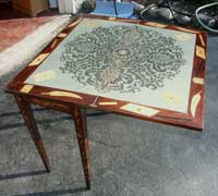 Marquetry Bridge Table Felt Card Top Before Restoration