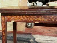 Marquetry Bridge Table Apron Before Restoration