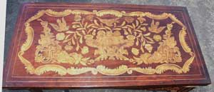 Marquetry Bridge Table Surface Before Restoration