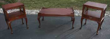Victorian Mahogany Claw Foot Coffee Table and End Tables Restoration Complete