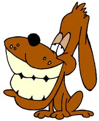 Artisans of the Valley Onsite Restoration Services - Cartoon Dog Smiling with Huge Teeth in rewards for dogs who chew furnitur and get us a job!