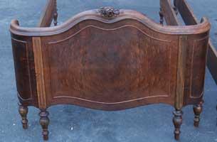 Victorian carved Burl Veneer Twin Bed Restoration Complete Footboard One