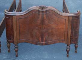 Victorian carved Burl Veneer Twin Bed Restoration Complete Footboard Two