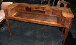 Burl Walnut Piano Desk - Before Restoration Front View