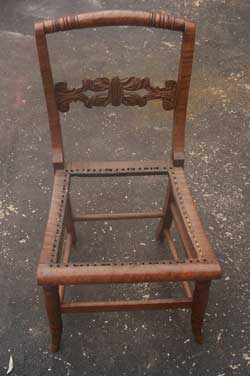 Tiger Maple caned seat chair Restored