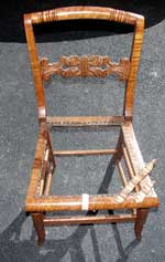 Tiger Maple caned seat chair In Need of Restoration