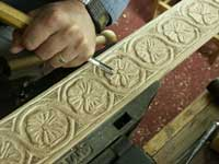Hand carving gothic dogwood in ghilloche in progress view 2