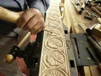 Hand carving gothic dogwood in ghilloche in progress view 6