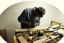 Stanley Saperstein at carving bench