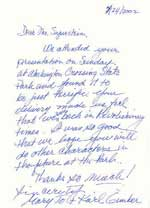 Thank you Note to Stanley D. Saperstein of Artisans of the Valley