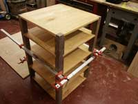 Mission Audio Unit Solid Cherry & Walnut Assembled in Clamps Left Angle