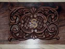 Hand Carved Walnut Music Box with Swiss Movement - Carving close-up