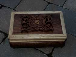 Hand Carved Walnut Music Box with Swiss Movement - Top View