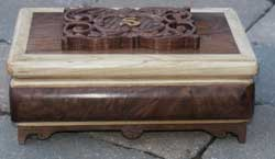 Hand Carved Walnut Music Box with Swiss Movement - Front View