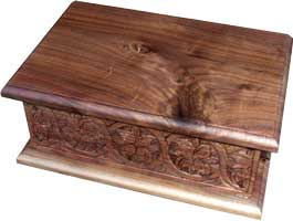 Hand Carved Walnut Bible Box - Simple Lid View