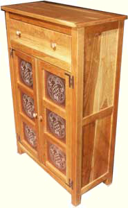 Solid Cherry Custom Pie Safe by Artisans of the Valley - Side Angle View