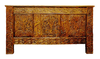 Custom Hand Carved Circa 1640 Connecticut Chest in Oak