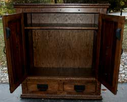 Hand Carved New Wave Gothic Entertainment Center by Artisans of the Valley - Complete Photo 7