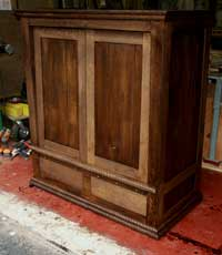 Hand Carved New Wave Gothic Entertainment Center by Artisans of the Valley - In Progress Photo 12