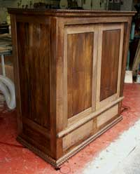 Hand Carved New Wave Gothic Entertainment Center by Artisans of the Valley - In Progress Photo 9