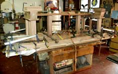 Hand Made Custom Solid Walnut New Wave Gothic Dining Table by Artisans of the Valley - In Progress - Frame in Clamps