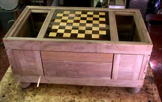 Chessboard Coffee Table In Progress - Face & Board View