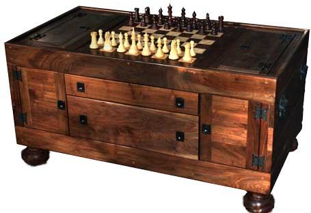 Chessboard Coffee Table, Puzzle Box, Wine Rack, Glass Rack, Cat Play Box, Puzzle Box Completed by Artisans of the Valley - Fully Assembled