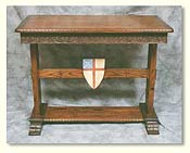 Solid Oak Hand Carved New Wave Gothic Credence or Communion Table