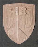 Precision CNC Carved Hand Touched Oak 3D Architectureal Shield Closeup