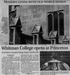 Whiteman College Opens at Princeton - The Times Article September 5, 2007 Staff Writer Robert Stern Featuring Carved Oak Shield